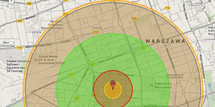 Efekty wybuchu bomby atomowej nad Warszawą