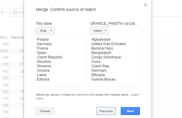 merge google fusion tables
