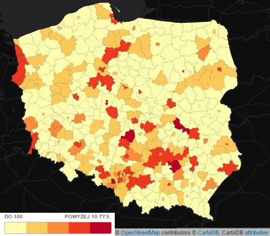 Zanieczyszczenie powietrza w Polsce - tlenki azotu