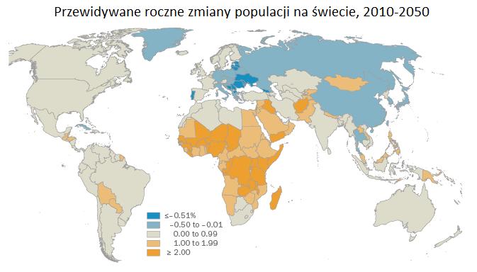zmiana liczby ludnosci na swiecie do 2050 roku